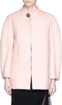 Lanvin Glass crystal button cocoon sleeve melton jacket