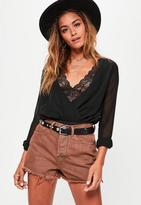 Missguided Brown High Waisted Denim Shorts, Brown