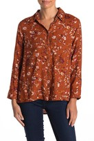 Susina Button Hem Printed Long Sleeve Shirt (Regular & Petite)