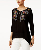 NY Collection Petite Embroidered Handkerchief-Hem Top