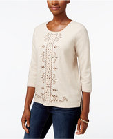 Alfred Dunner Embroidered High-Low Sweater