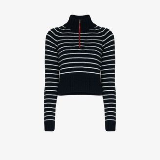 By Any Other Name Striped Zip Neck Cashmere Sweater