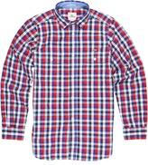 Lacoste Kids - Boys' L/S Plaid Poplin Shirt w/ Adjustable Sleeves (Little Kids/Big Kids) (River/Cosmic/Ladybird/White) - Apparel