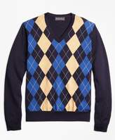 Brooks Brothers Supima Cotton Cashmere Argyle V-Neck Sweater