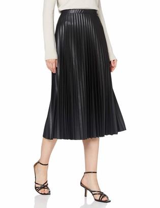 Dorothy Perkins Women's Black Pu Pleat Midi Skirt 20