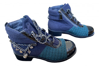 Chanel Blue Tweed Ankle boots