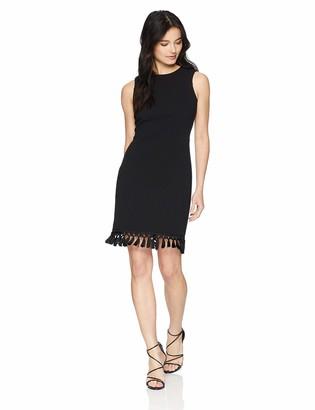 Calvin Klein Women's Petite Solid Sleeveless Sheath with Fringe Trim