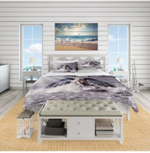 Design Art Designart 'Woman With Dark Angel Wings' Beach Duvet Cover Set - King Bedding