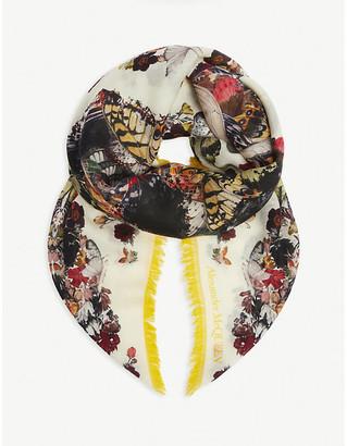 Alexander McQueen Botanical-print wool scarf