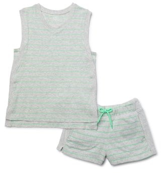Athletic Works Girls Athleisure Striped Tank Top and French Terry Shorts, 2-Piece Active Set, Sizes 4-18 & Plus
