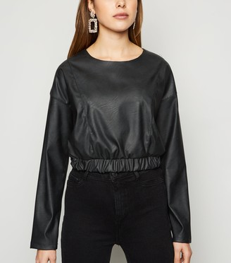 New Look Cameo Rose Leather-Look Crop Top