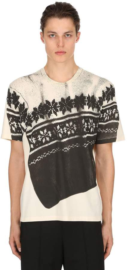 Maison Margiela Knit Printed Cotton Jersey T-Shirt