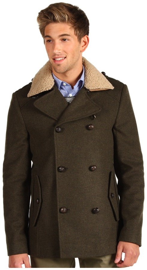 Ted Baker Wanju Double Breasted Coat (Dark Green) - Apparel