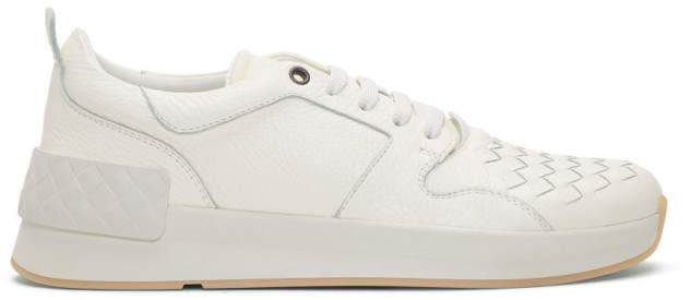 Bottega Veneta White Intrecciato Runner Sneakers