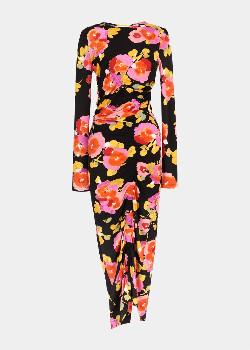 Essentiel Black Floral Print Midi Dress - 34