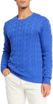 Ralph Lauren Purple Label Cashmere Cable-Knit Crewneck Sweater, Blue