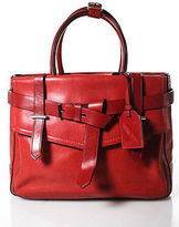 Reed Krakoff Red Leather Stitch Trim Silver Tone Hardware Tote Handbag