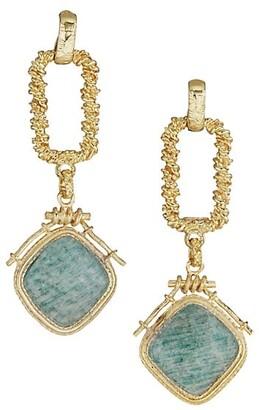 Gas Bijoux Siena 24K Goldplated & Amazonite Drop Earrings
