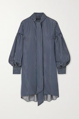 Rokh Oversized Tie-detailed Striped Satin Mini Shirt Dress - Navy