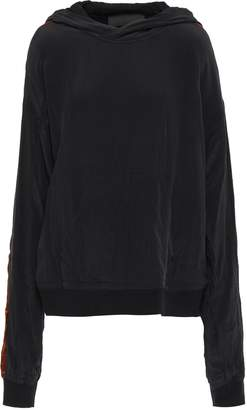 Haider Ackermann Satin-trimmed Crinkled Silk Crepe De Chine Hooded Top