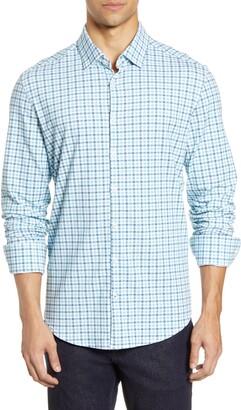 Stone Rose Check Tech Knit Button-Up Shirt
