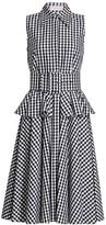 Michael Kors Belted Peplum Gingham Cotton Shirtdress