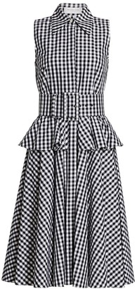 Michael Kors Belted Peplum Gingham Cotton Shirtdress