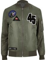 River Island MensGreen badge bomber jacket