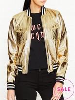 Just Cavalli Metallic Leather Bomber Jacket