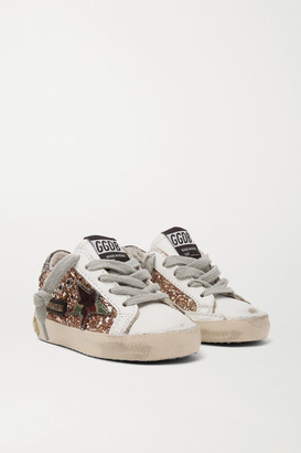 Golden Goose Kids - Sizes 19 - 27 Superstar Glittered Distressed Leather Sneakers