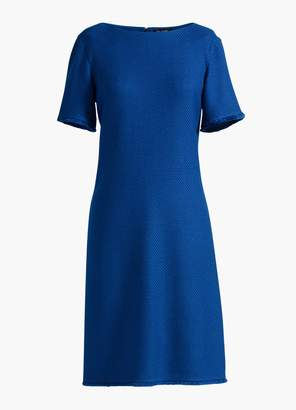 St. John Gridded Texture Knit Bateau Neck Dress