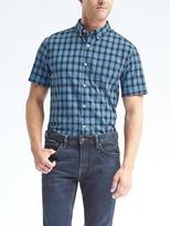 Banana Republic Grant-Fit Custom Wash Buffalo Check Short-Sleeve Shirt