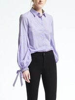 Banana Republic Riley-Fit Pleated Bell-Sleeve Shirt