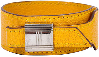 One Kings Lane Vintage Hermes Yellow Slide Leather Bracelet - Vintage Lux