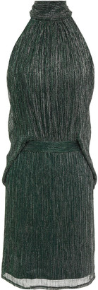 Halston Tie-neck Draped Metallic Plisse Crochet-knit Mini Dress