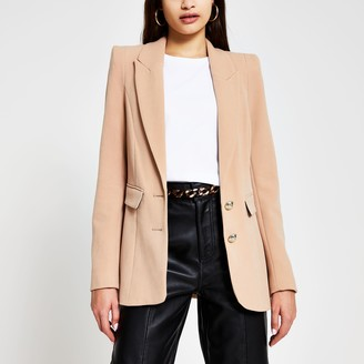 River Island Womens Beige fitted shoulder breasted blazer