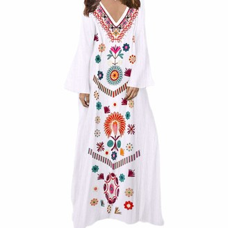 YEBIRAL Womens Casual Linen Printed Long Sleeve V-Neck Maxi Dress Hem Baggy Kaftan Long Dress White