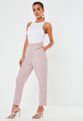 Missguided Lilac Pleat Detail Cigarette Trousers