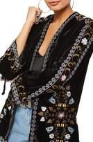 Topshop Embroidered Velvet Short Kimono