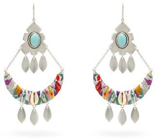 Isabel Marant Pablo Beaded Silver-tone Drop Earrings - Womens - Yellow Multi