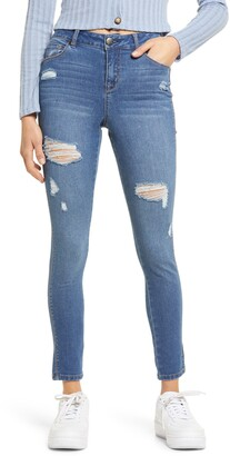 1822 Denim High Waist Ripped Skinny Jeans