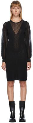 See by Chloe Black Sheer V-Neck Dress