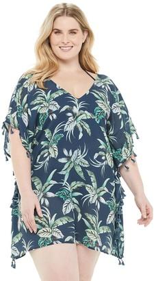 Plus Size Beach Scene Print Tassel-Trim Cover-Up Dress