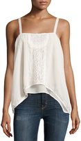 Romeo & Juliet Couture Sleeveless Sheer Lace-Trim Woven Top, Ivory