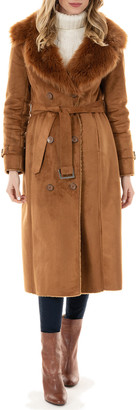Fabulous Furs Sequoia Faux Suede Faux Fur-Collar Coat