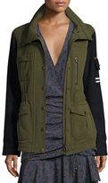 Veronica Beard Skyline Two-Tone Army Jacket, Army Green
