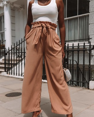 The Drop Women's Desert Taupe Loose Fit Paperbag Waist Pant by @thepatriciabright XS