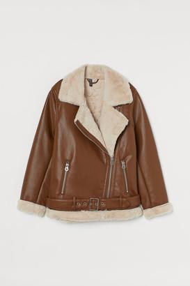 H&M Faux Shearling-detail Jacket - Orange