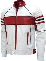LJS & Red Stylish Men's Moto Fashion Leather Biker Jacket