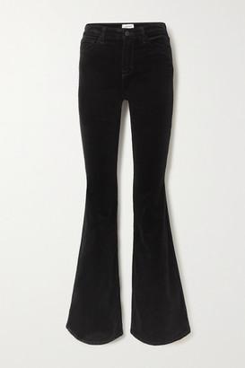 L'Agence Bell Stretch Cotton-blend Velvet Flared Pants - Black